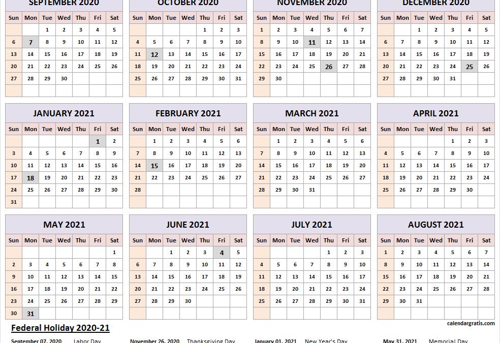 2020/2021 1st Term Academic Calendar