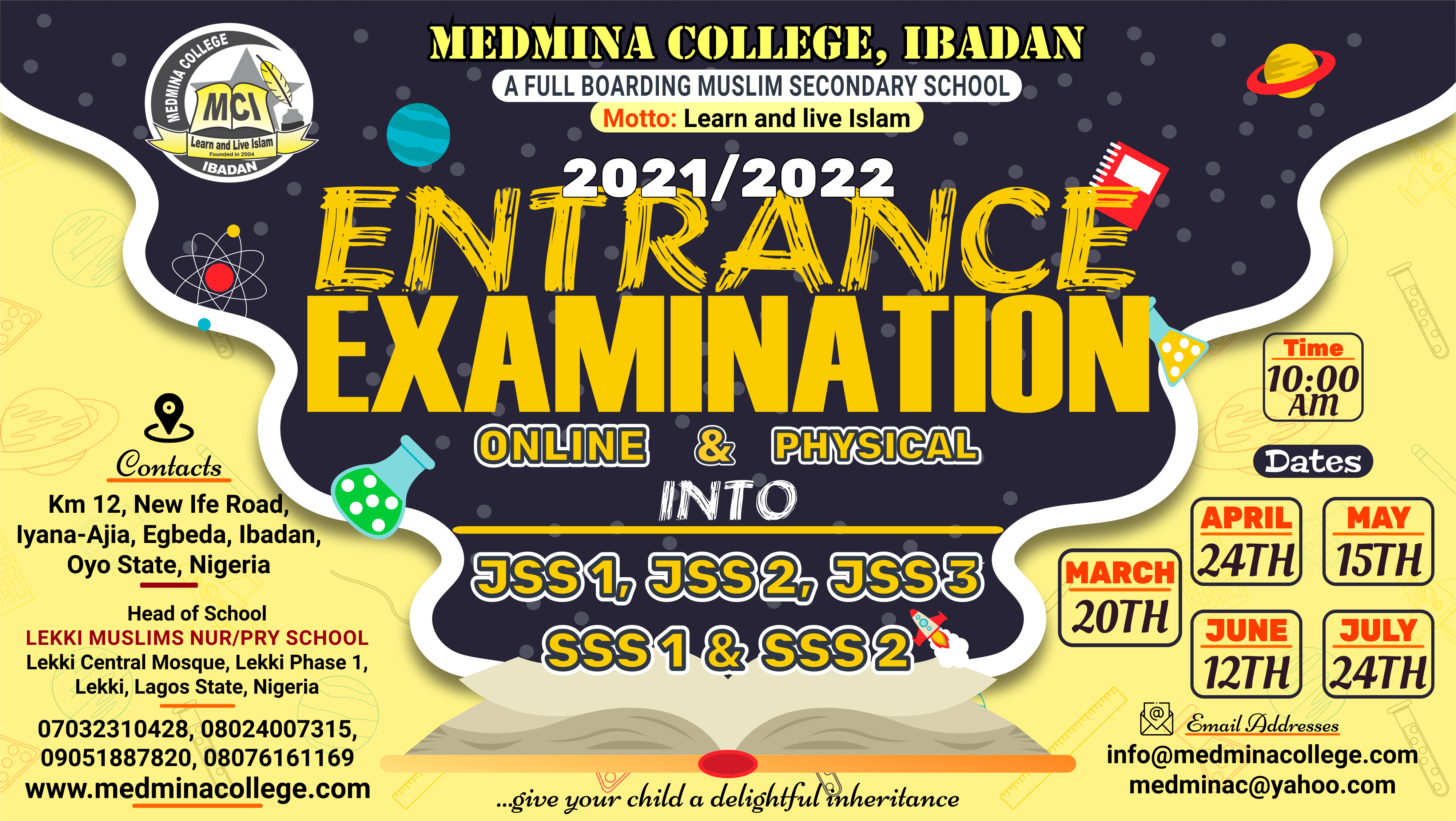 2020/2021 Online Entrance Examination for Admissions
